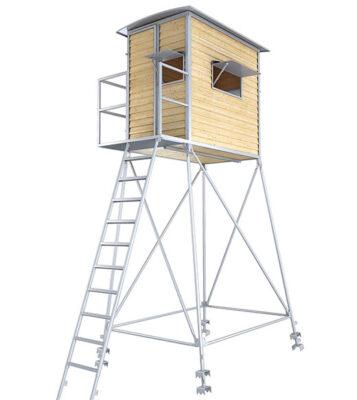 Schlafkanzel inkl. Unterbau, Leiter und Podest mit Geländer aus verzinktem Metall